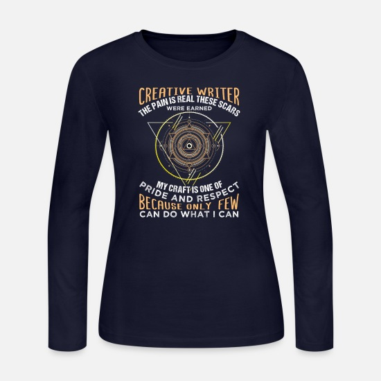 Abstract Long-Sleeve Shirts - Creative Writer With Scars - Women's Jersey Longsleeve Shirt navy