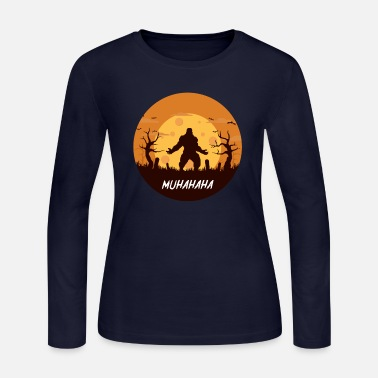 Bigfoot funny & scary Halloween themed trick or tr - Women's Jersey Longsleeve Shirt