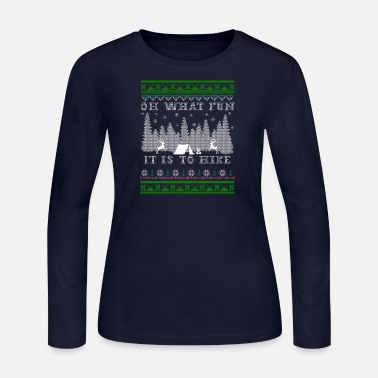 Ugly Christmas hiking fun Ugly Christmas - Women's Long Sleeve Jersey T-Shirt
