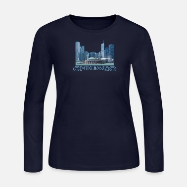 Chicago Chicago T-Shirt - Chicago Shirt - Chicago Tees - Women's Long Sleeve Jersey T-Shirt