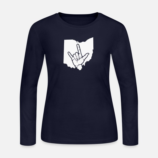 Pop Art Long-Sleeve Shirts - New Design Rock metal ohio map Best Seller - Women's Jersey Longsleeve Shirt navy