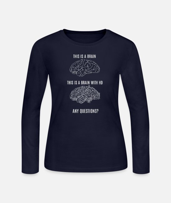 Brain Long-Sleeved Shirts - THIS IS YOUR BRAIN - Women's Jersey Longsleeve Shirt navy
