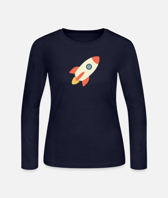 Spaceman Long-Sleeved Shirts - Rocket Blast - Women's Jersey Longsleeve Shirt navy