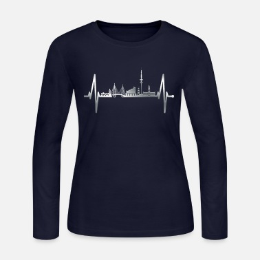 Harbor Hamburg Heartbeat Silver Skyline Hamburger Lover - Women's Jersey Longsleeve Shirt