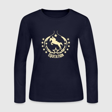 equitation logo pad 15 1 horse rider - Women's Long Sleeve Jersey T-Shirt