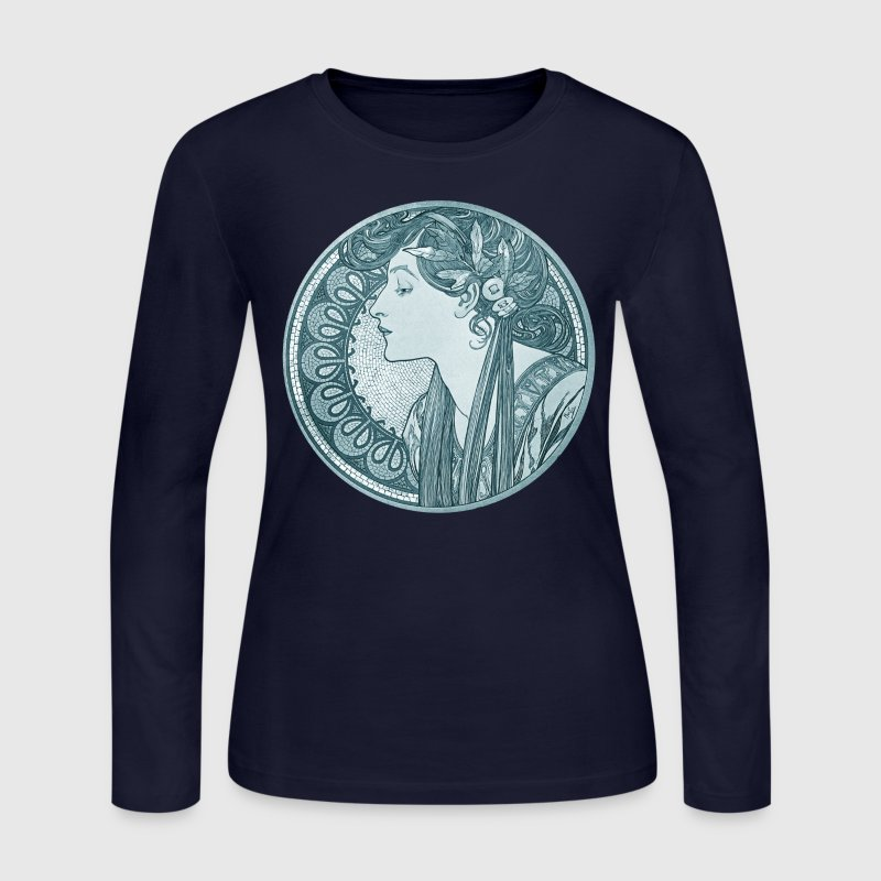 Alphonse Mucha Goddess Art - Women's Long Sleeve Jersey T-Shirt