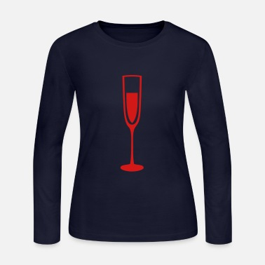 Champagne-glass glass champagne flute glass crystal - Women's Long Sleeve Jersey T-Shirt