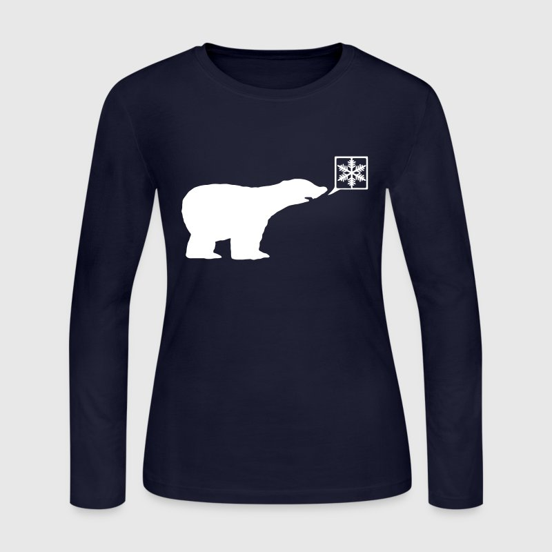 Polar bear, calls for ice, snow flake Global Warming - Women's Long Sleeve Jersey T-Shirt