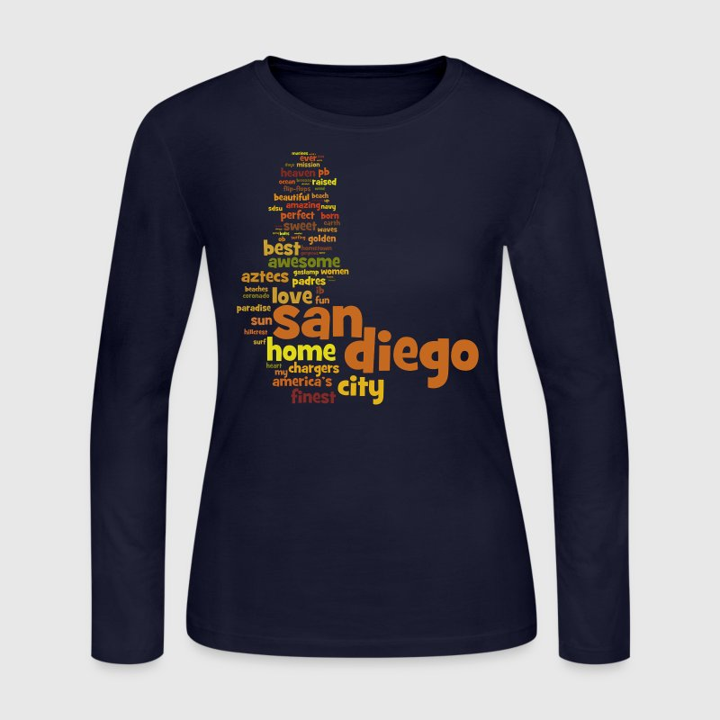 San Diego California Words Design Cali - Women's Long Sleeve Jersey T-Shirt