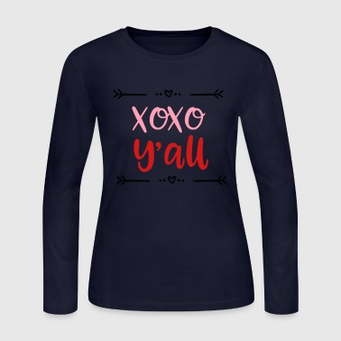 XOXO Y'all Valentines Day Kids Baby Design - Women's Long Sleeve Jersey T-Shirt