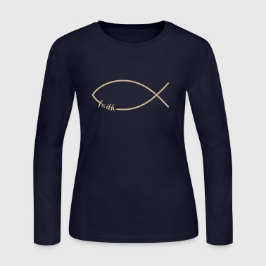 Faith Fish/Jesus Fish - Women's Long Sleeve Jersey T-Shirt