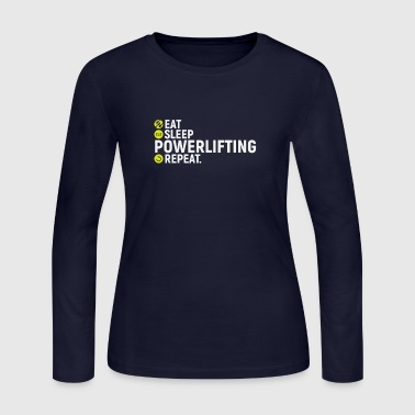 Eat, sleep, powerlifting, repeat - gift - Women's Long Sleeve Jersey T-Shirt