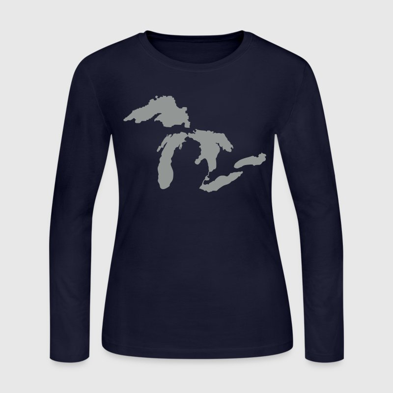 The Great Lakes Design Michigan SIlhouette Vector - Women's Long Sleeve Jersey T-Shirt