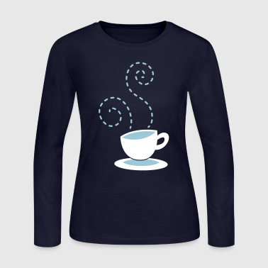 cappuccino coffee hipster cup with steam - Women's Long Sleeve Jersey T-Shirt