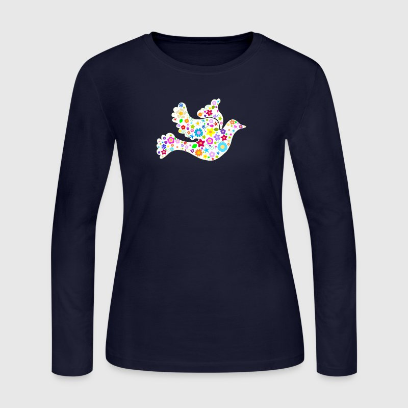 White Dove of Flowers and Peace - Women's Long Sleeve Jersey T-Shirt