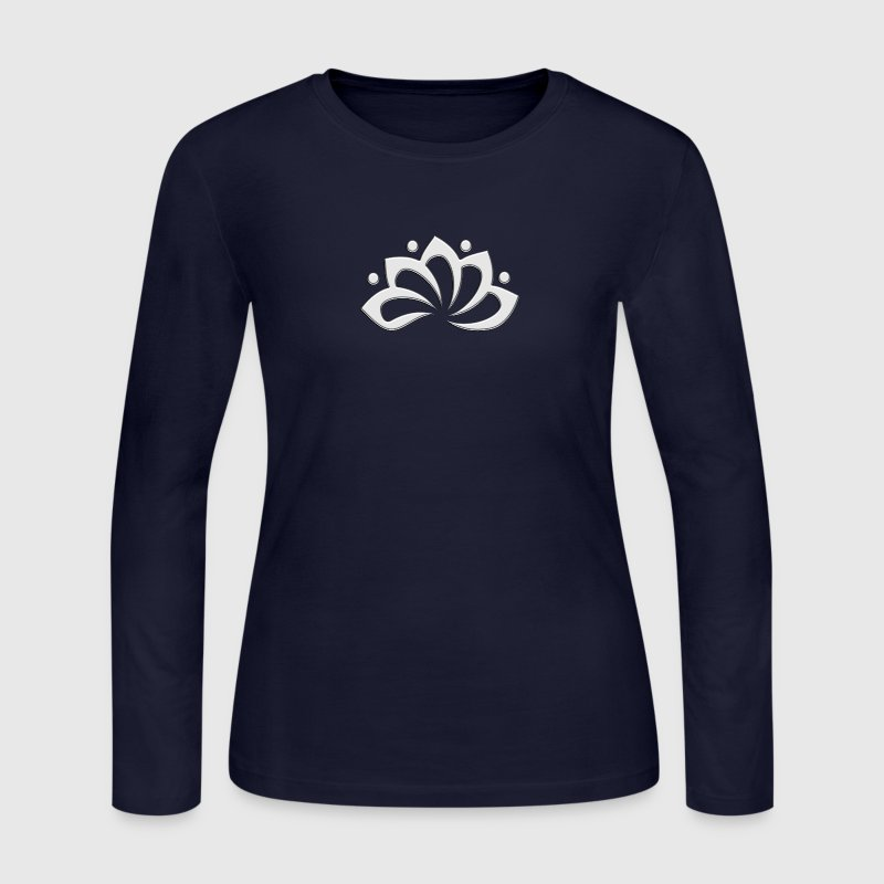 Lotus Flower, digital silver, symbol of perfection and enlightenment, sacred symbol - Women's Long Sleeve Jersey T-Shirt