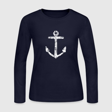 Anchor Vintage White Sailing Sailor Design - Women's Long Sleeve Jersey T-Shirt