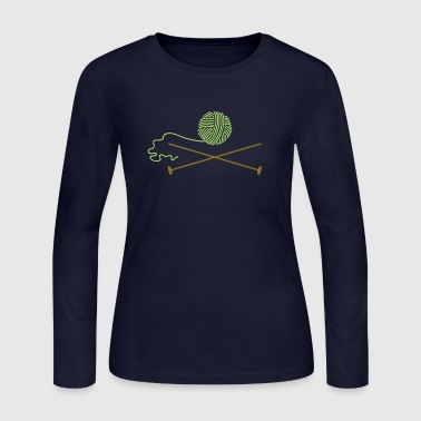 wool ball 'n knitting needle (2c) - Women's Long Sleeve Jersey T-Shirt