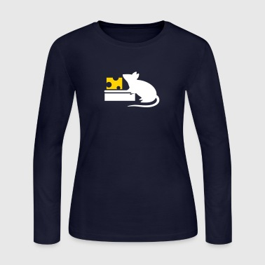 A Mouse Eating Cheese From The Mousetrap - Women's Long Sleeve Jersey T-Shirt