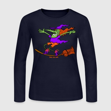 Crazy Witch Surfing on her Broom - Women's Long Sleeve Jersey T-Shirt