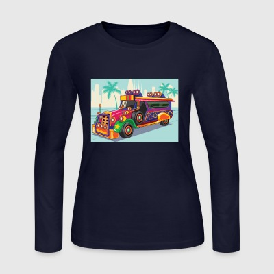Philippine Jeep vector Illustration or Jeepney - Women's Long Sleeve Jersey T-Shirt