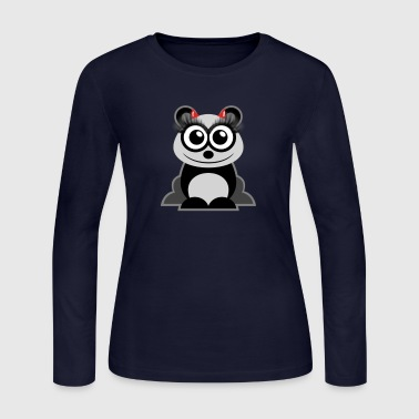 Panda Avatar with Lushes and Horns - Women's Long Sleeve Jersey T-Shirt