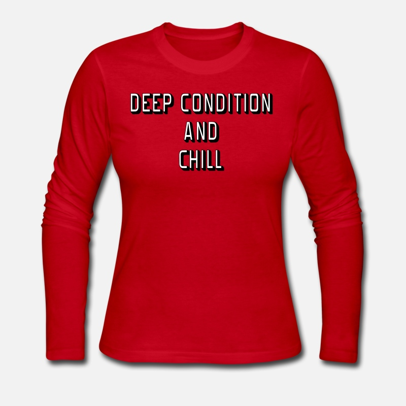 Bald Head Long sleeve shirts - Deep Condition and Chill - Women's Jersey Longsleeve Shirt red