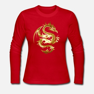Chun beautiful golden dragon with wings coiled up glean - Women's Long Sleeve Jersey T-Shirt