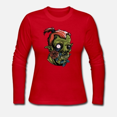 Drawing T-Shirt orc monster rose vintage fun vector image - Women's Jersey Longsleeve Shirt