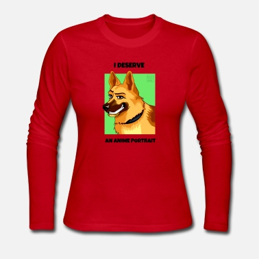 German Shepherd Dog: Anime Cartoon Portrait - Women's Jersey Longsleeve Shirt