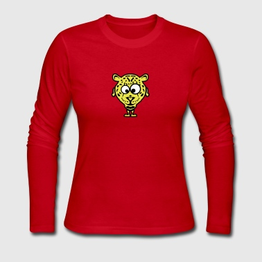 leopard animal cartoon funny face 1010 - Women's Long Sleeve Jersey T-Shirt