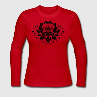 Tantra Large lotus flower in tattoo style. - Women's Long Sleeve Jersey T-Shirt
