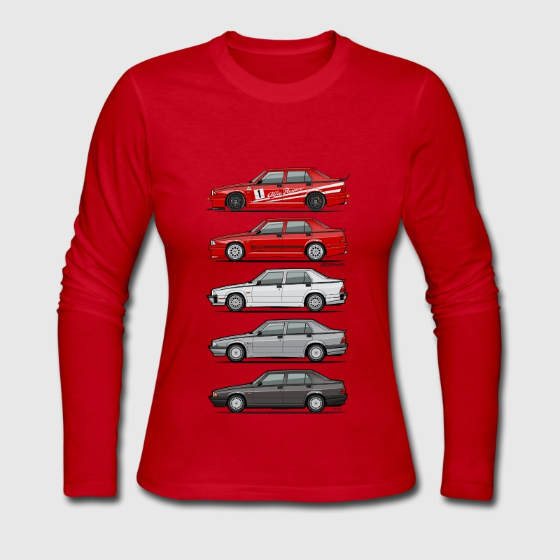 Stack of Alfa 75 Milano Tipo 161 - Women's Long Sleeve Jersey T-Shirt