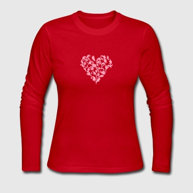 floral heart 1c - Women's Long Sleeve Jersey T-Shirt
