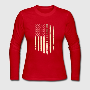 Heart Disease Awareness Month USA Flag Shirt - Women's Long Sleeve Jersey T-Shirt
