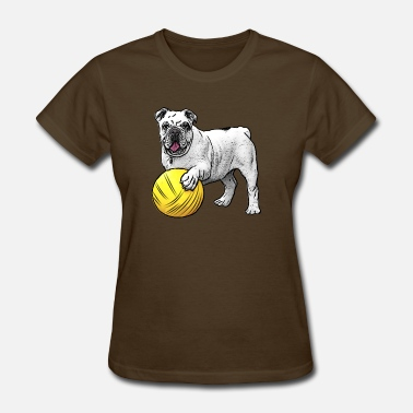 Ball Game Dogs pet bulldog playing with ball - Women's T-Shirt