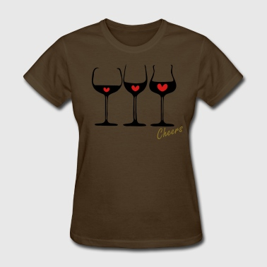 Wine glass & red hearts - Women's T-Shirt
