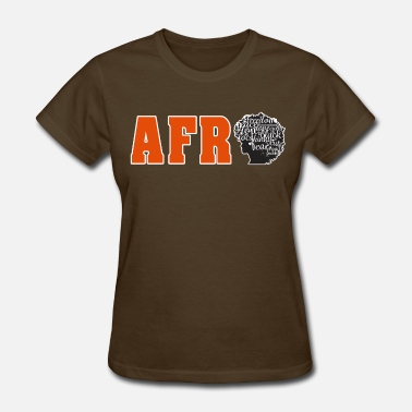 Silhouette Afro (Orange Text) - Women's T-Shirt