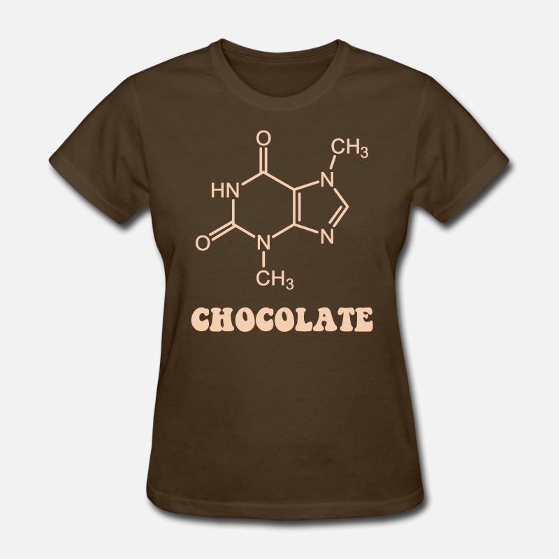 Candy T-Shirts - Scientific Chocolate Element Theobromine Molecule - Women's T-Shirt brown