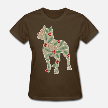 Christmas Holly Leaves Christmas Holly Pitbull - Women's T-Shirt