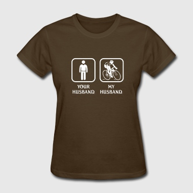 Love Mountains Apparel Husband Mountain Biking Love- cool shirt, hoodie - Women's T-Shirt