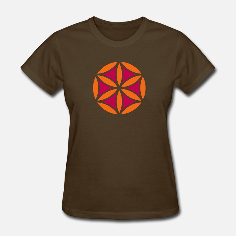 Feng Shui T-Shirts - Flower of Aphrodite, 2c, Symbol of  love, beauty and transformation, Power Symbol, Talisman - Women's T-Shirt brown