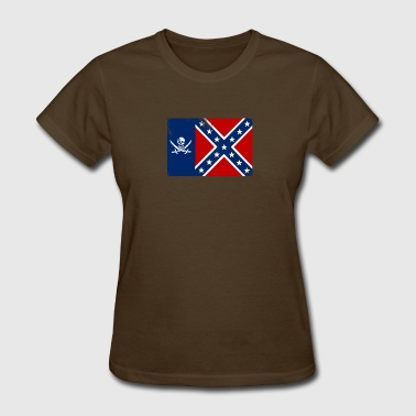 Confederate Skull Pirate Texas Confederate Flag - Women's T-Shirt