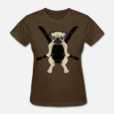 Baby Carrier Funny Cute Baby PUG Carrier with Strap On - Women's T-Shirt