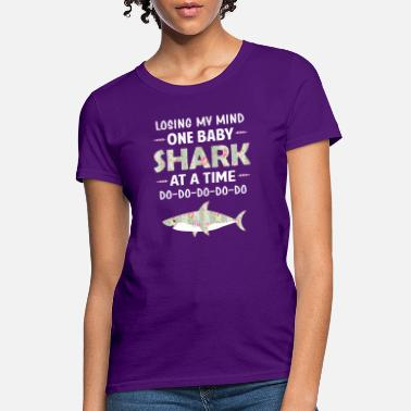 Losing My Mind One Baby Shark At A Time Floral - Women's T-Shirt