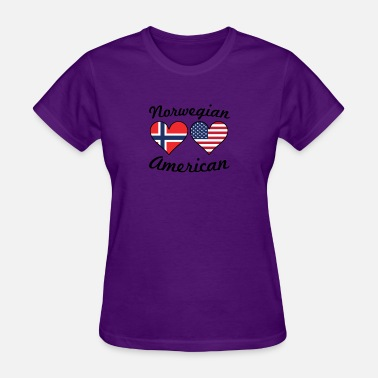Norwegian Heart Norwegian American Flag Hearts - Women's T-Shirt