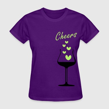 Wine glass & red hearts 1 - Women's T-Shirt
