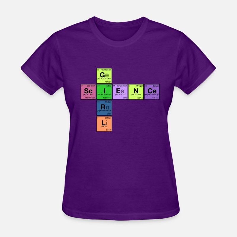 Science T-Shirts - SCIENCE GIRL! - Periodic Table Scramble - Women's T-Shirt purple