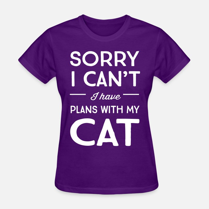 Animal T-Shirts - Sorry I can't I have plans with my cat - Women's T-Shirt purple