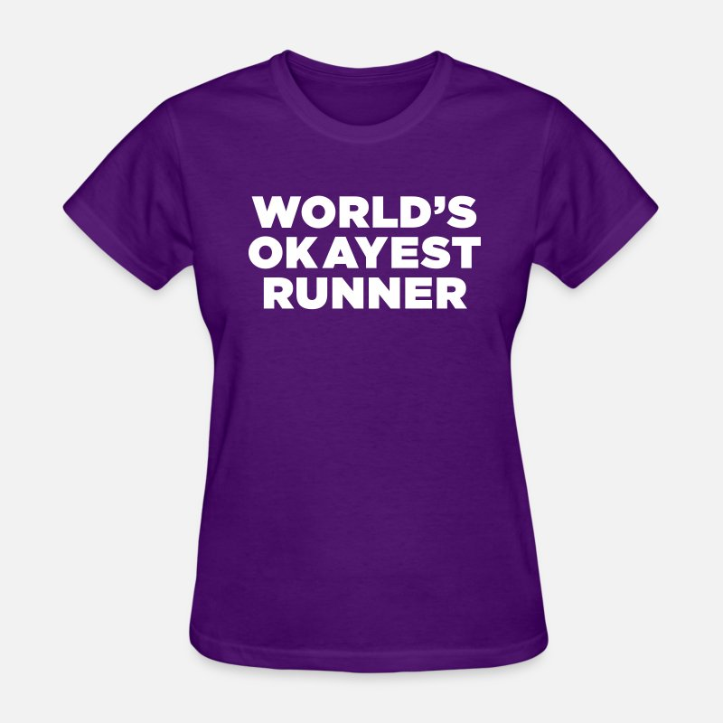 Funny T-Shirts - World's Okayest Runner - Women's T-Shirt purple